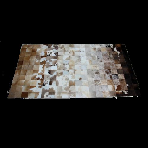 Tapete de Couro Degradê Marrom e Branco 1,00 x 1,50m