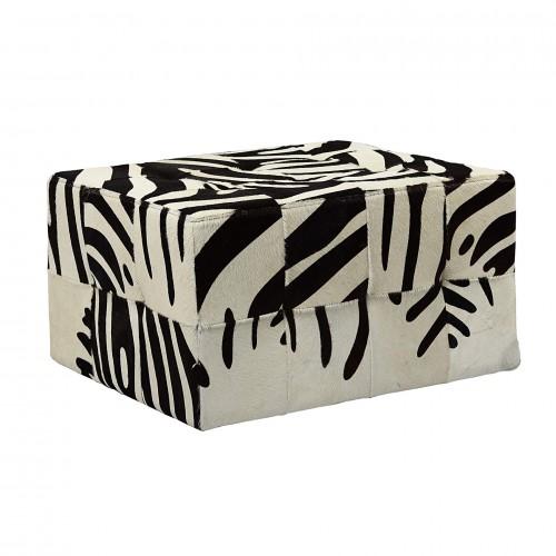 Puff de Couro Natural Zebra