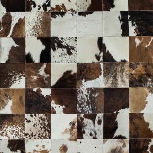 Tapete de Couro Marrom e Branco Malhado 2,50 x 3,00m