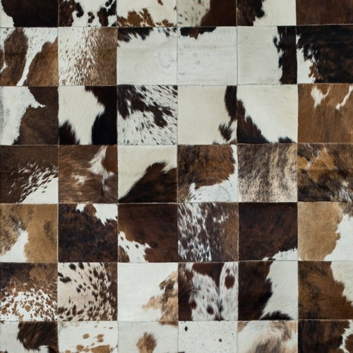 Tapete de Couro Marrom e Branco Malhado 1,50 x 2,00m
