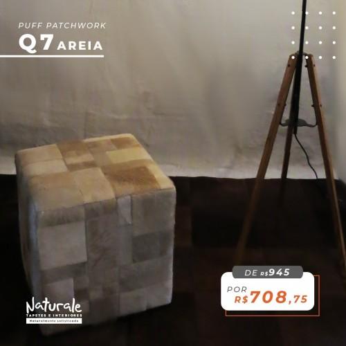 Puff de Couro Areia - Patchwork Mosaico